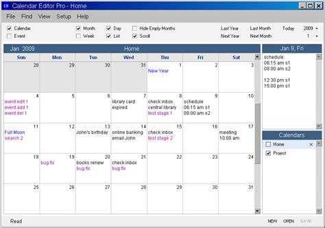 Calendar Editor Calendar Editor Pro The Portable Freeware Collection