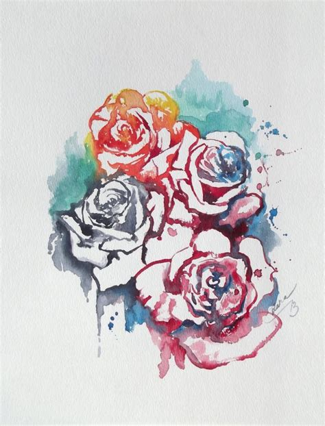 old watercolor tattoo abstract floral original watercolor painting