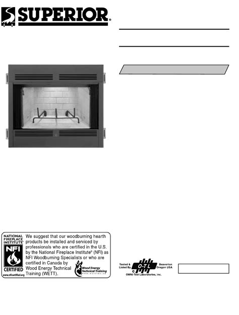 Superior Fireplace Manuals by Free User Manuals Manualsonline