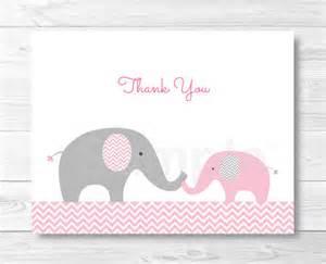 pink elephant chevron thank you card folded card template