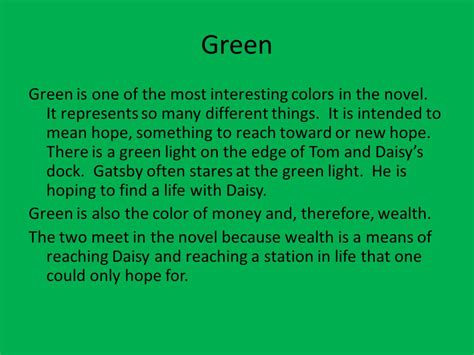 the color green means symbolism in the great gatsby ppt