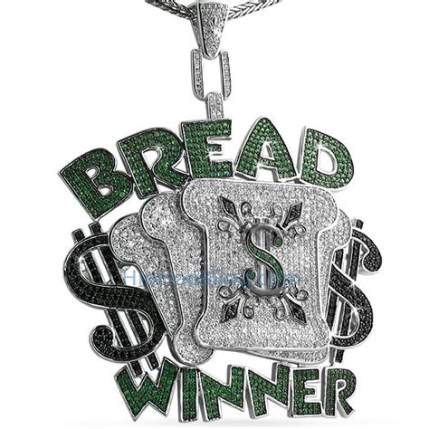 custom bread winner micro pave cz hip hop pendant