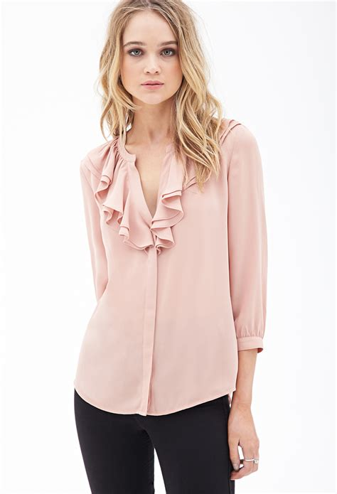 Forever Blouse lyst forever 21 ruffled chiffon blouse in pink