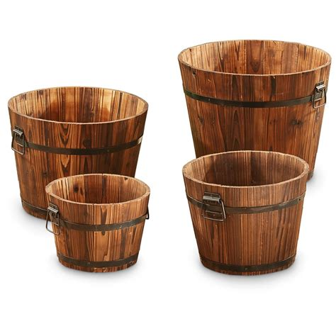 castlecreek wooden barrel planter set 4 piece 657794