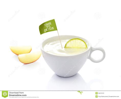 Detox Cup by Detox Diet Yoghurt In Cup With Lemon And Flag Text Time