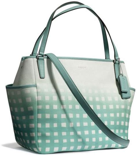 Coach Babybag Saffiano Leather Baby Bag Tote Yellow coach baby bag tote in gingham saffiano leather in blue sv white duck egg lyst