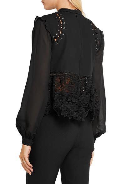 Mammeow Top 5702 Blouse self portrait lace up georgette and guipure lace blouse net a porter