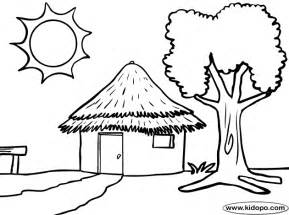 Hut Coloring Pages For Kids sketch template