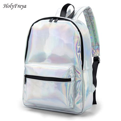7 Fashionable Bags For School by Shiny Silver Fashion Backpack School Laser Shoulder
