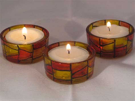 tea light holder small tealight holders glasspaintingbyjen