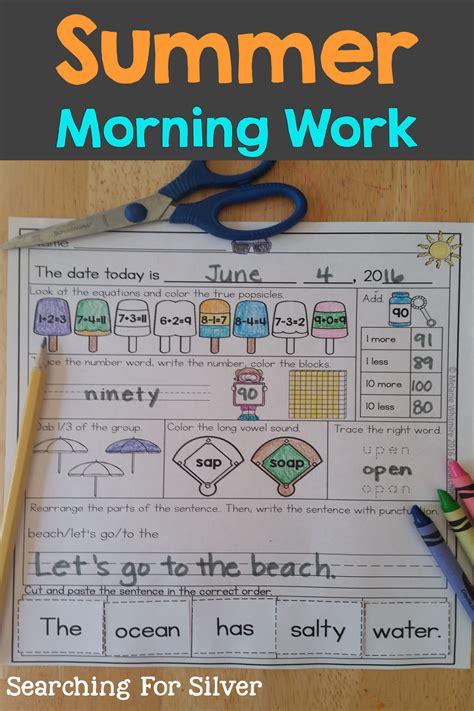 Summer Morning Work First Grade Summer School Summer