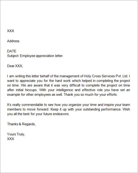 exle of appreciation letter to client appreciation letter to employee employee appreciation