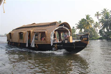 floating boat kerala wooden house boats in kerala back waters editorial stock