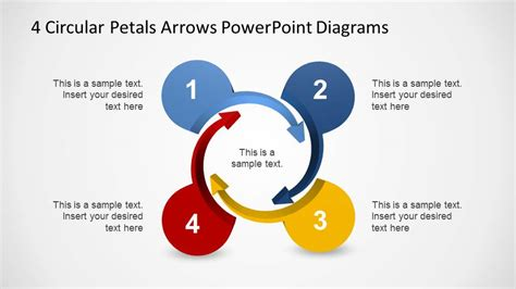 4 Circular Petals Arrows Powerpoint Diagrams Slidemodel Circular Arrows Powerpoint