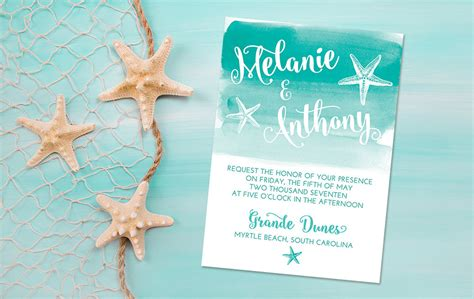 printable wedding invitations beach beach wedding invitation card starfish invitation
