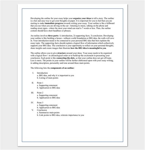 College Essay Outline Template by 30 Essay Outline Templates Free Sles Exles And