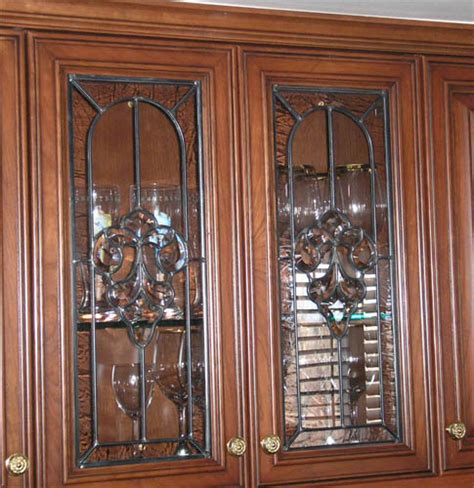 Leaded Glass Kitchen Cabinet Doors Clear Stained Glass Cabinet Doors Spotlats