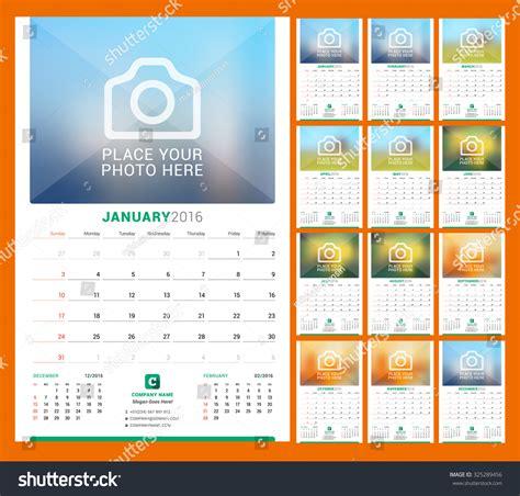 home design editorial calendar 2016 wall monthly calendar 2016 year vector stock vector