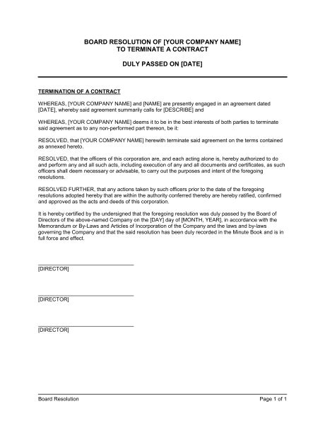Termination Letter Format For Leave And License Agreement board resolution to terminate a contract template sle form biztree