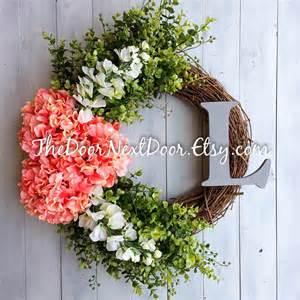 Summer Wreath For Front Door Front Door Summer Wreath Hydrangea Wreath With Monogram
