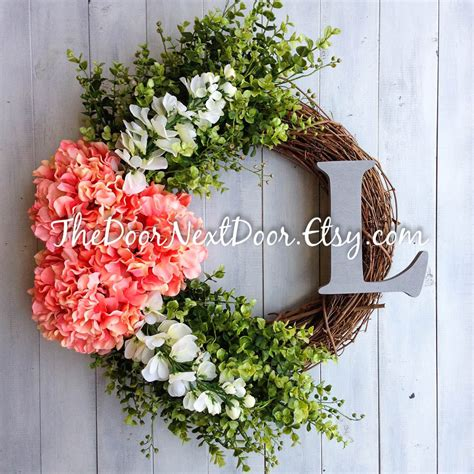 Summer Front Door Wreaths Front Door Summer Wreath Hydrangea Wreath With Monogram