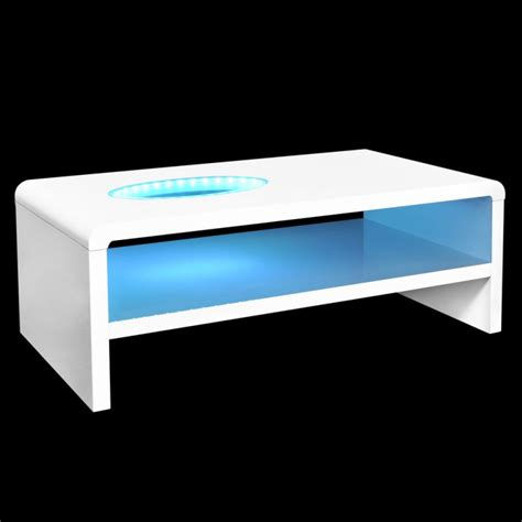 coffee table with led lights led light coffee table in high gloss white 42cm buy
