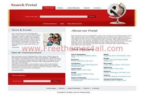 Free Html Search Portal Red Website Template Freethemes4all Free Search Engine Website Templates