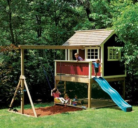 swing sets with sandbox love the playhouse idea tree houses playgrounds yard