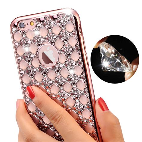 Iphone 6 Plus Luxury Bling Gold Casing Cover Bumper new luxury gold bling glitter plating phone for iphone 6 6s iphone 6 plus soft tpu