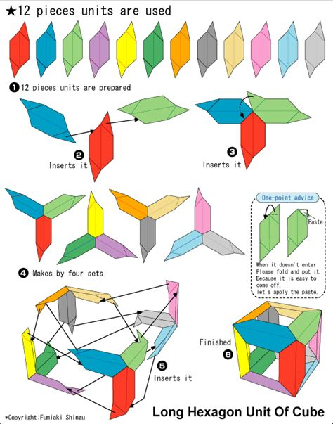Origami Cube Pdf - origami hexagon unit of cube easy origami