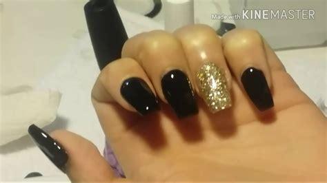 imagenes de uñas en negro con dorado u 241 as acrilicas negro mat 233 colaboraci 243 n youtube