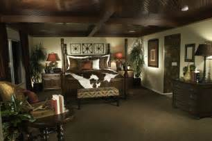Masculine bedroom design with dark wood ceiling four poster wood bed