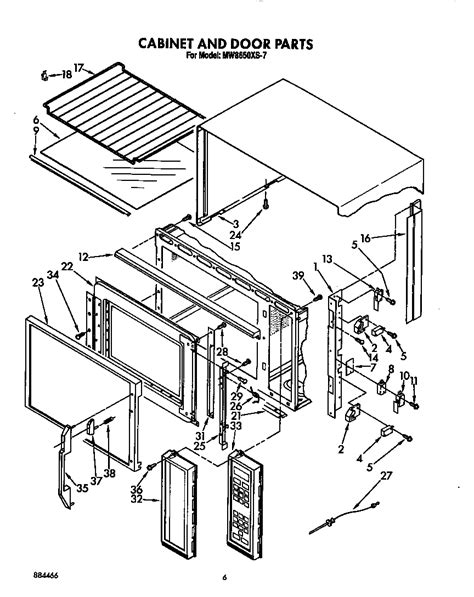 whirlpool microwave parts diagram cabinet and door diagram parts list for model mw8650xs7