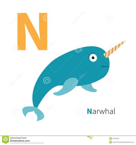 letter n narwhal zoo alphabet abc with animals