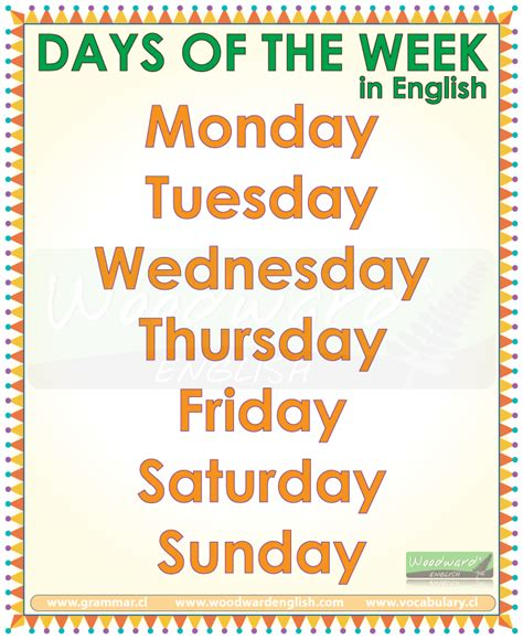 all the days of week days of the week months of the year seasons in