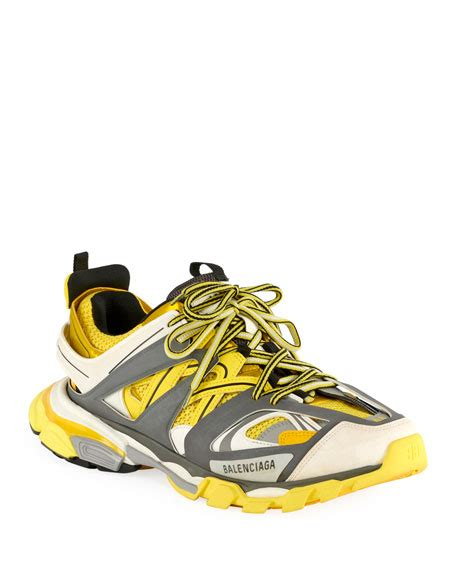 balenciaga track leather mesh and rubber sneakers yellow modesens