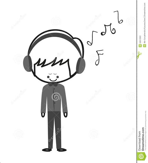 doodle boy doodle boy listen stock vector image of phone