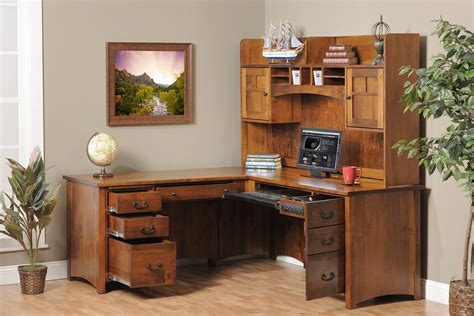 furniture rectangle brown wooden office desks with hutch
