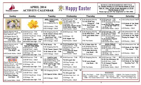 activity calendar template for seniors april 2014 senior activity calendar invitations ideas