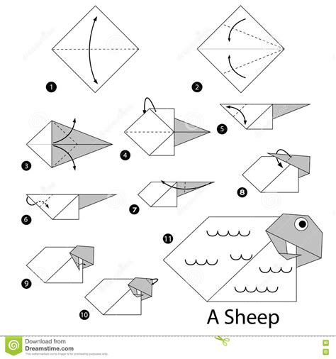 Origami Sheep Diagrams - step by step how to make origami a sheep