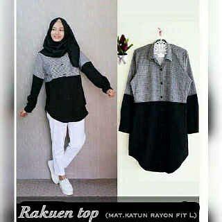 Preloved Baju Atasan Warna Hitam jual blouse wanita muslimah lengan panjang warna hitam kombinasi kotak kotak hitam putih tunik