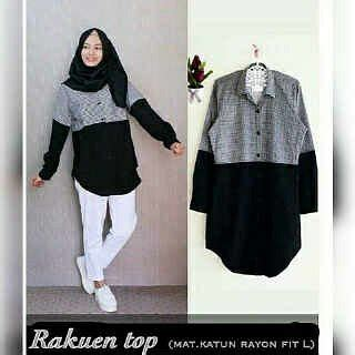 Baju Atasan Wanita Blouse Muslim Tunic Miranda Jumbo Tunik jual blouse wanita muslimah lengan panjang warna hitam kombinasi kotak kotak hitam putih tunik
