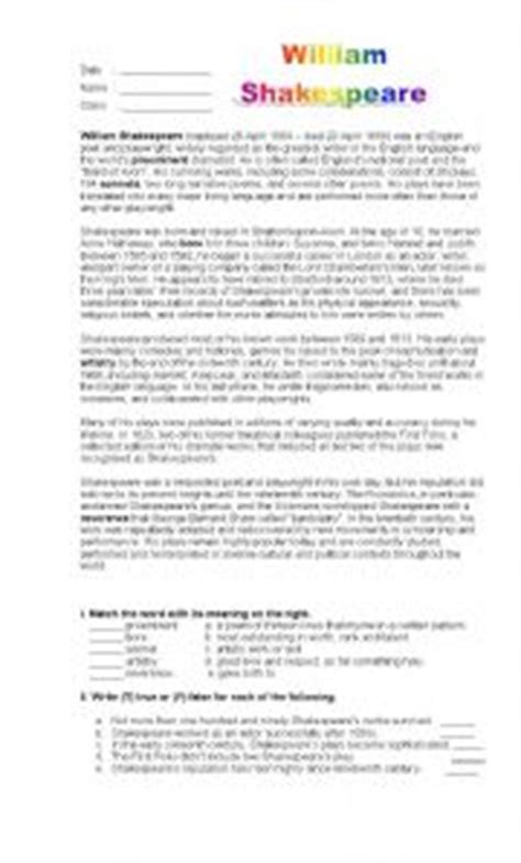reading comprehension test shakespeare william shakespeare worksheet by lisa victory