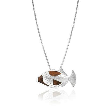 sterling silver koa wood humuhumunukunukuapuaa pendant