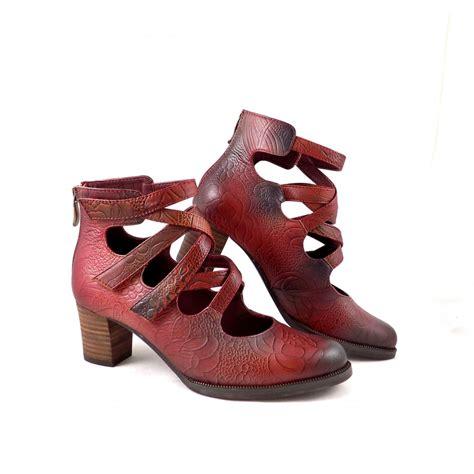 vita shoes vita amelia strappy shoe boots in wine leather