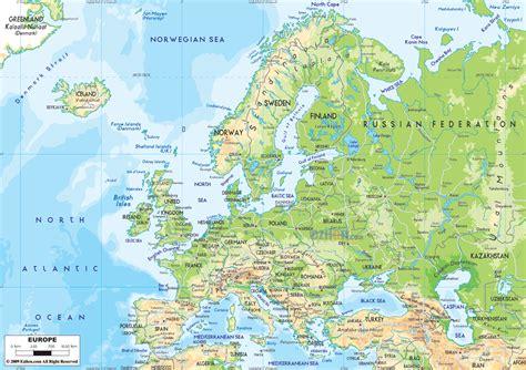 physical map  europe ezilon maps