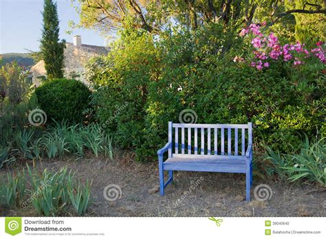 painted wooden garden bench blue painted wooden garden bench provence france stock photo image 39040640