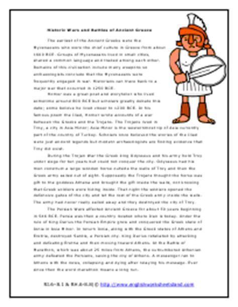 ancient greece reading comprehension worksheets