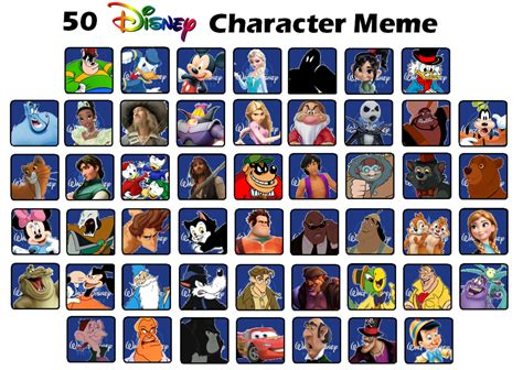 Top 50 Memes - top 50 disney characters meme by crap zapper on deviantart
