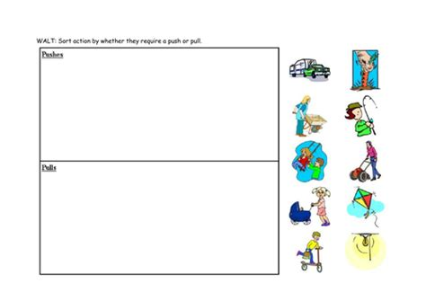 Push And Pull Worksheets For Kindergarten by Push And Pull Sorting By Sarahdawnrees Teaching